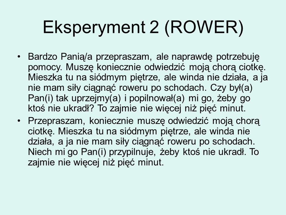 Eksperyment 2 (ROWER) Bardzo Panią/a przepraszam, ale naprawdę potrzebuję pomocy.