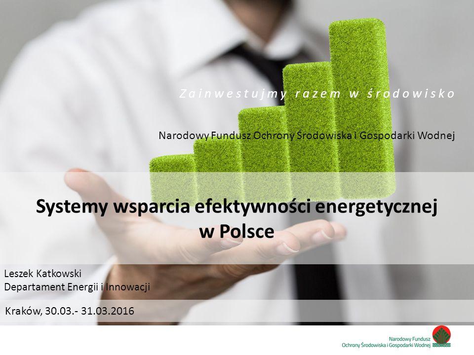 Zainwestujmy razem w środowisko Systemy wsparcia efektywności energetycznej w Polsce Narodowy Fundusz Ochrony Środowiska i Gospodarki Wodnej Z a i n w e s t u j m y r a z e m w ś r o d o w i s k o Leszek Katkowski Departament Energii i Innowacji Kraków, 30.03.- 31.03.2016