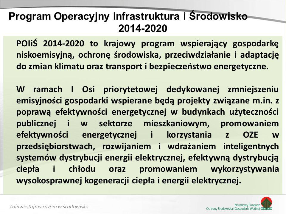 Zainwestujmy razem w środowisko POIiŚ 2014-2020 to krajowy program wspierający gospodarkę niskoemisyjną, ochronę środowiska, przeciwdziałanie i adaptację do zmian klimatu oraz transport i bezpieczeństwo energetyczne.