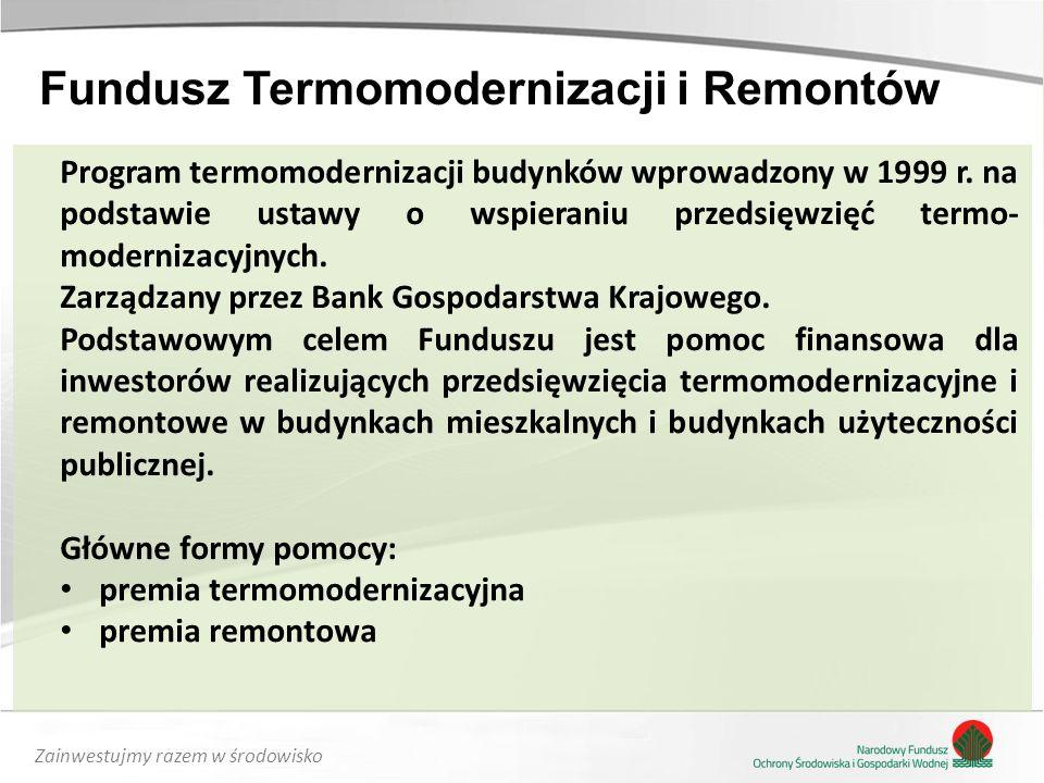 Zainwestujmy razem w środowisko Program termomodernizacji budynków wprowadzony w 1999 r.