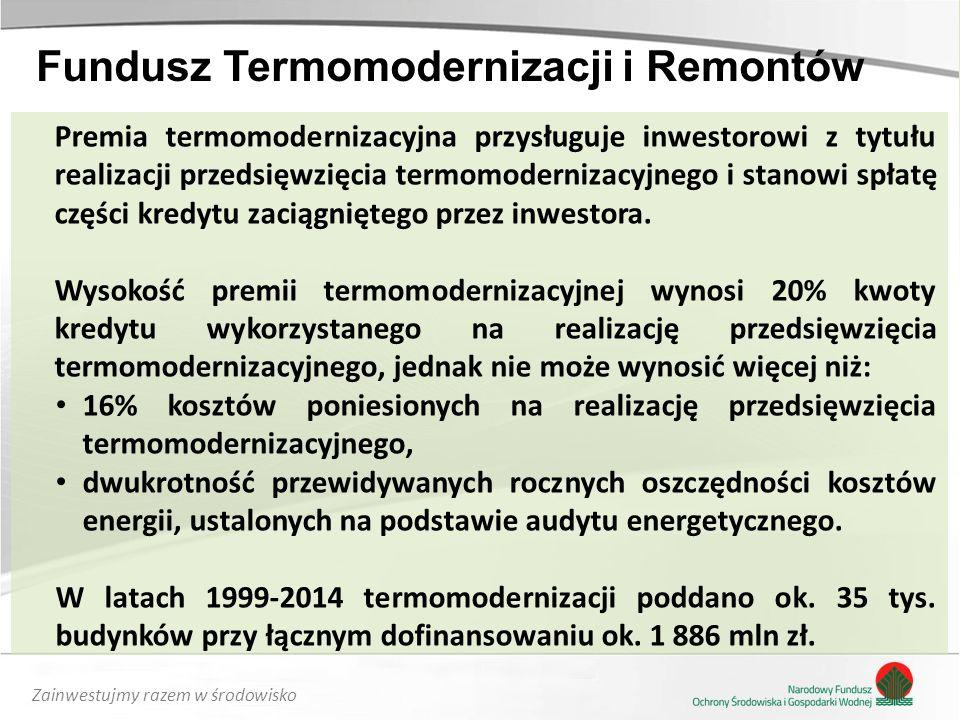 Zainwestujmy razem w środowisko Premia termomodernizacyjna przysługuje inwestorowi z tytułu realizacji przedsięwzięcia termomodernizacyjnego i stanowi spłatę części kredytu zaciągniętego przez inwestora.