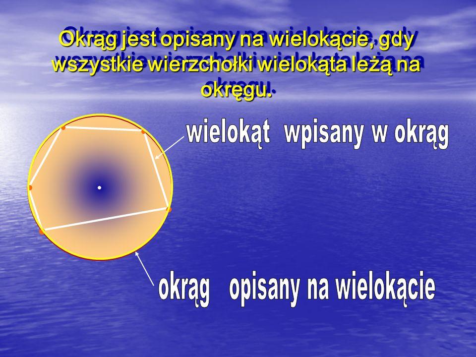 Okrąg jest opisany na wielokącie, gdy wszystkie wierzchołki wielokąta leżą na okręgu.