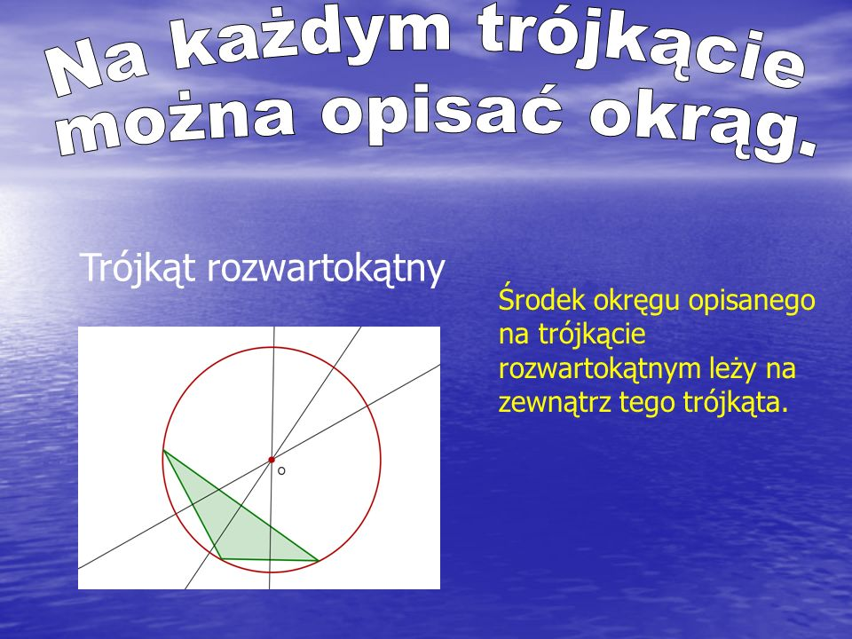 Oblicz długość promienia okręgu opisanego na trójkącie prostokątnym o przyprostokątnych długości 5 i 12.