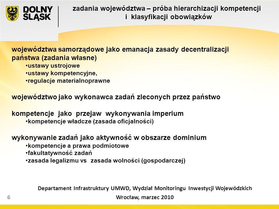 zadania województwa – próba hierarchizacji kompetencji i klasyfikacji obowiązków 6 Departament Infrastruktury UMWD, Wydział Monitoringu Inwestycji Wojewódzkich Wrocław, marzec 2010 województwa samorządowe jako emanacja zasady decentralizacji państwa (zadania własne) ustawy ustrojowe ustawy kompetencyjne, regulacje materialnoprawne województwo jako wykonawca zadań zleconych przez państwo kompetencje jako przejaw wykonywania imperium kompetencje władcze (zasada oficjalności) wykonywanie zadań jako aktywność w obszarze dominium kompetencje a prawa podmiotowe fakultatywność zadań zasada legalizmu vs zasada wolności (gospodarczej)
