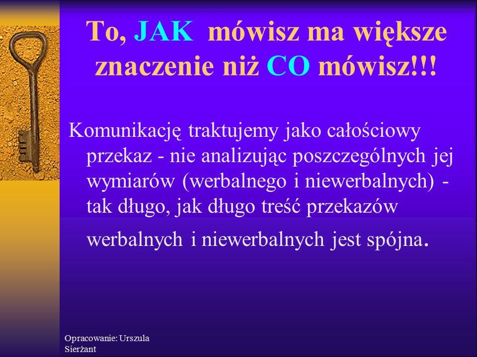 Opracowanie: Urszula Sierżant To, JAK mówisz ma większe znaczenie niż CO mówisz!!.