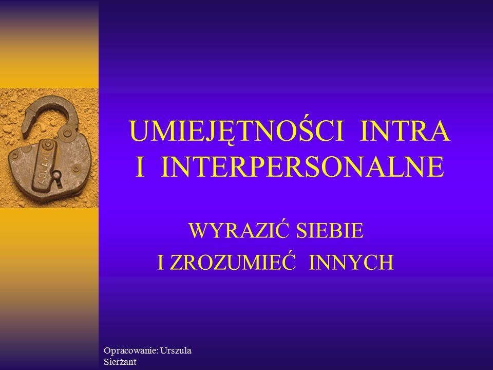 """Opracowanie: Urszula Sierżant UMIEJĘTNOŚCI INTRAPERSONALNE Umiejętności intrapersonalne to umiejętności kontaktowania się z samym sobą, czyli """"oglądu swojego wnętrza."""