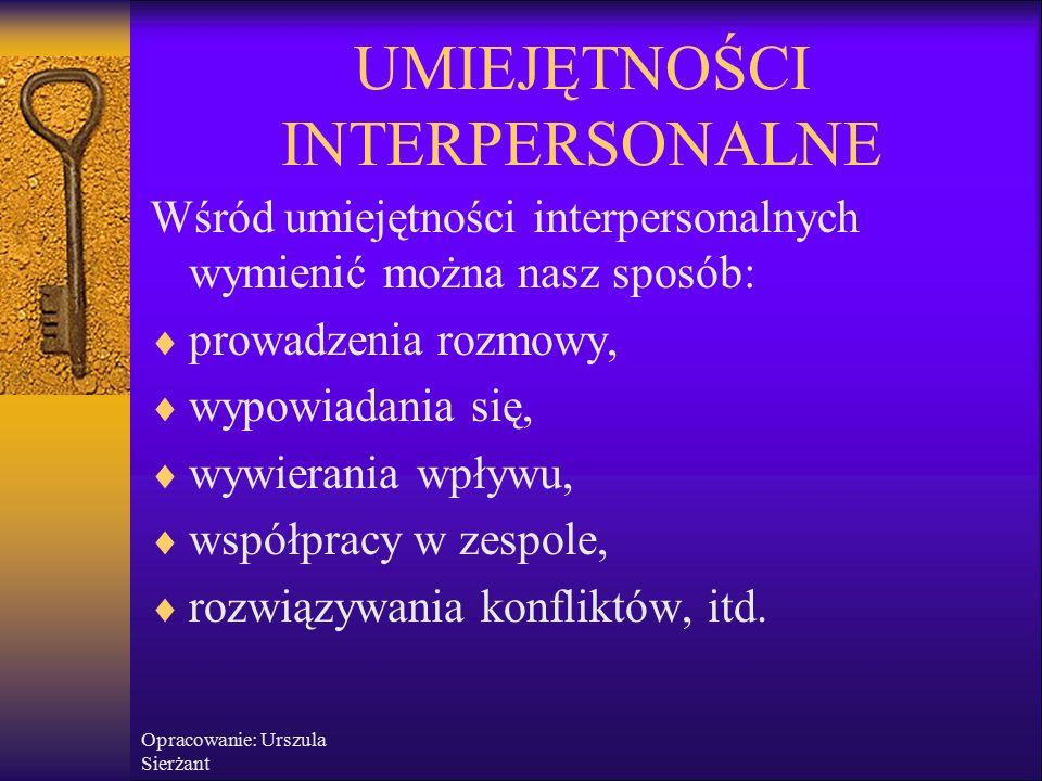 Opracowanie: Urszula Sierżant Umiejętności inter i interpersonalne są ważne.