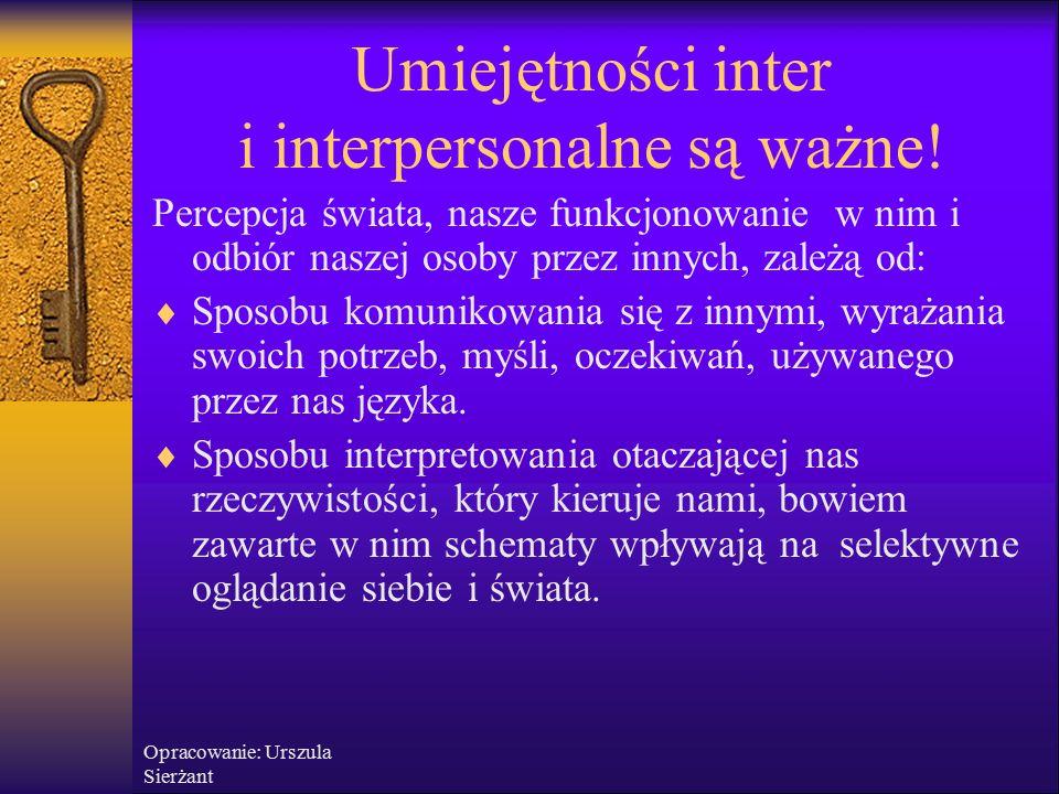 Opracowanie: Urszula Sierżant Komunikacja interpersonalna jest ważna.