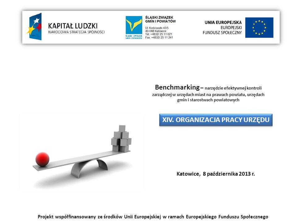 Projekt współfinansowany ze środków Unii Europejskiej w ramach Europejskiego Funduszu Społecznego Benchmarking – narzędzie efektywnej kontroli zarządczej w urzędach miast na prawach powiatu, urzędach gmin i starostwach powiatowych XIV.