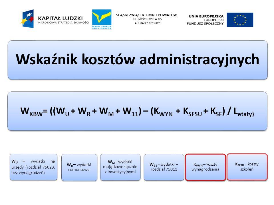 ŚLĄSKI ZWIĄZEK GMIN I POWIATÓW ul. Kościuszki 43/5 40-048 Katowice Wskaźnik kosztów administracyjnych WKBW= ((WU + W R + WM + W11) – (K WYN + KSFSU +