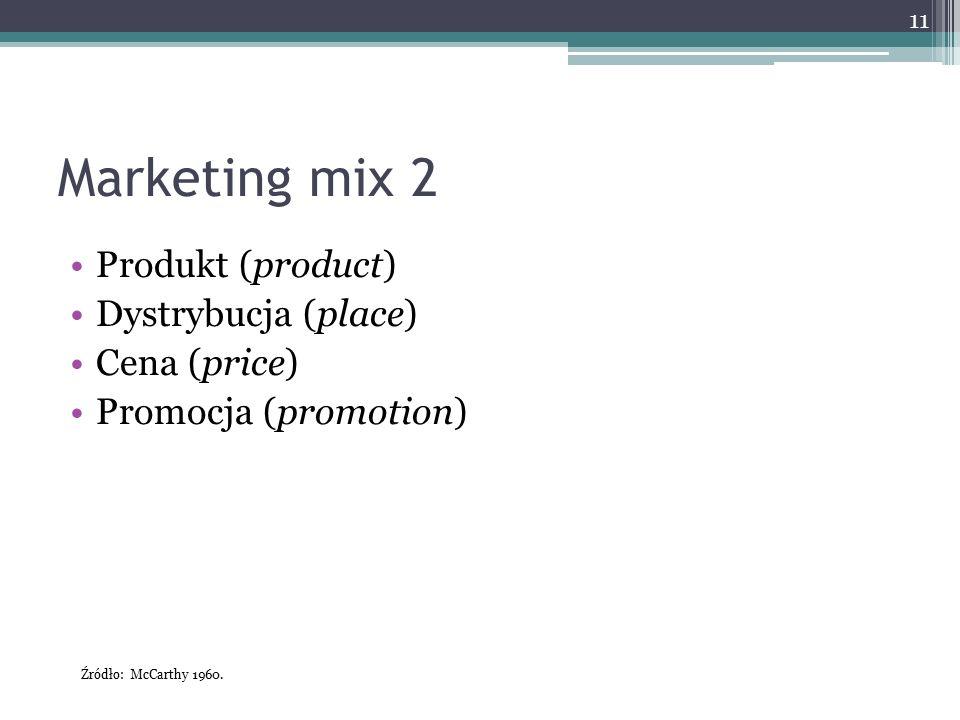 Marketing mix 2 Produkt (product) Dystrybucja (place) Cena (price) Promocja (promotion) 11 Źródło: McCarthy 1960.
