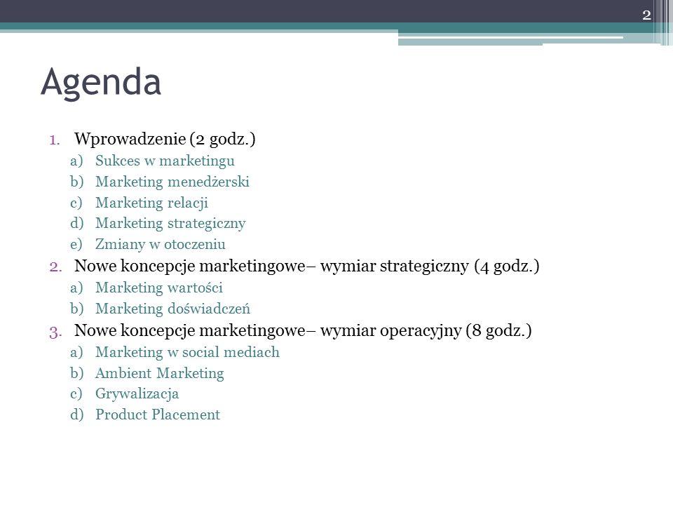 Agenda 1.Wprowadzenie (2 godz.) a)Sukces w marketingu b)Marketing menedżerski c)Marketing relacji d)Marketing strategiczny e)Zmiany w otoczeniu 2.Nowe