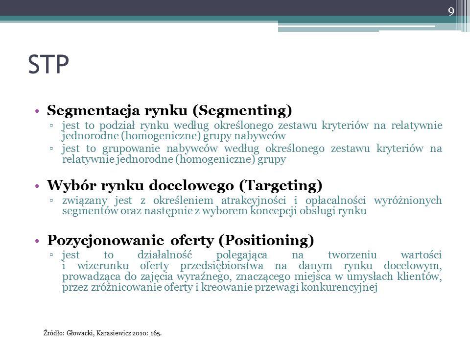 STP 9 Segmentacja rynku (Segmenting) ▫jest to podział rynku według określonego zestawu kryteriów na relatywnie jednorodne (homogeniczne) grupy nabywcó