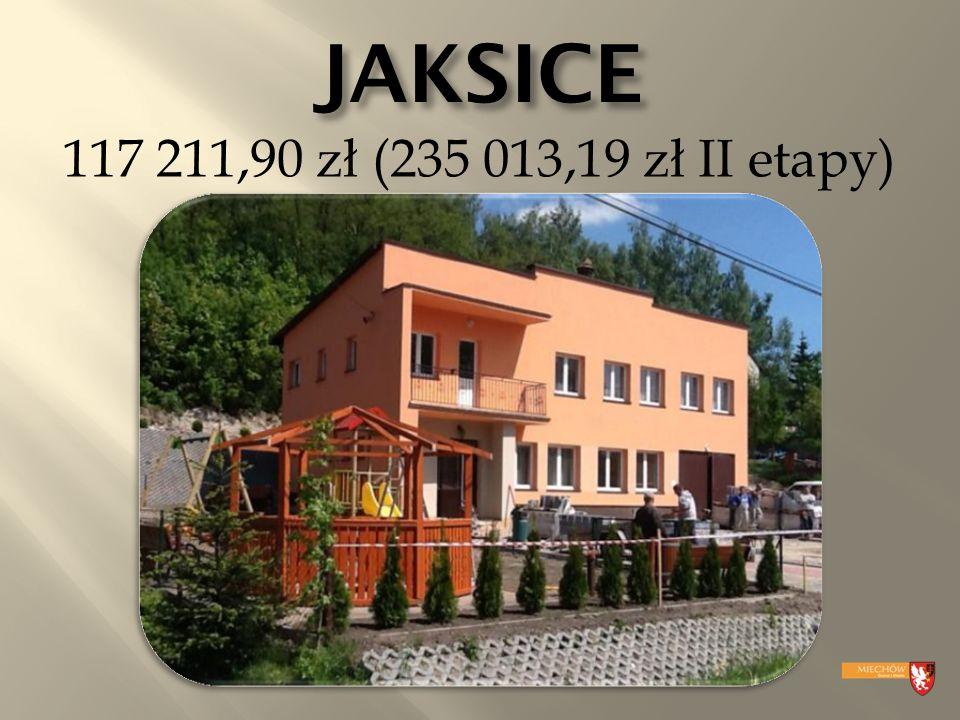 JAKSICE 117 211,90 zł (235 013,19 zł II etapy)