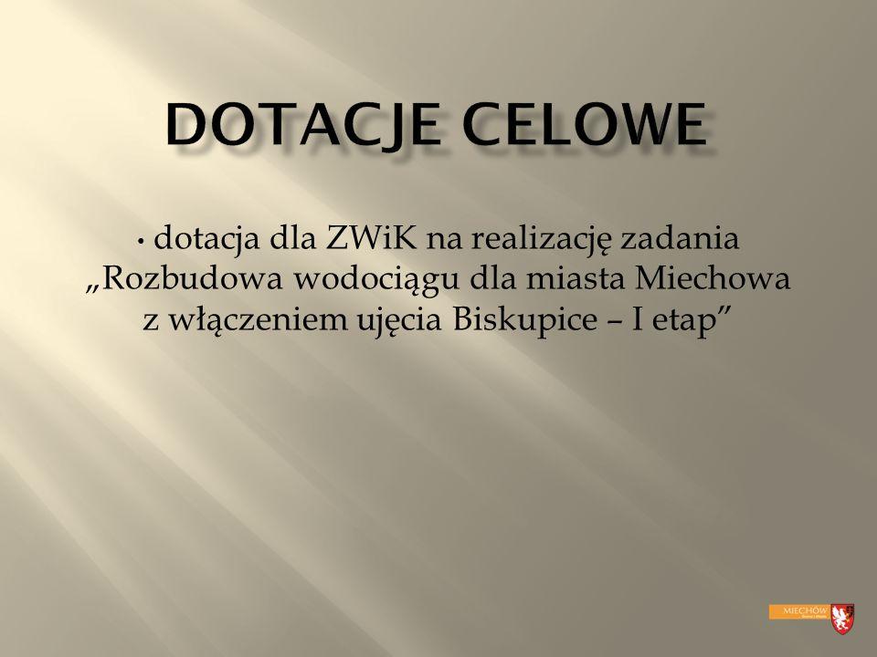 """dotacja dla ZWiK na realizację zadania """"Rozbudowa wodociągu dla miasta Miechowa z włączeniem ujęcia Biskupice – I etap"""