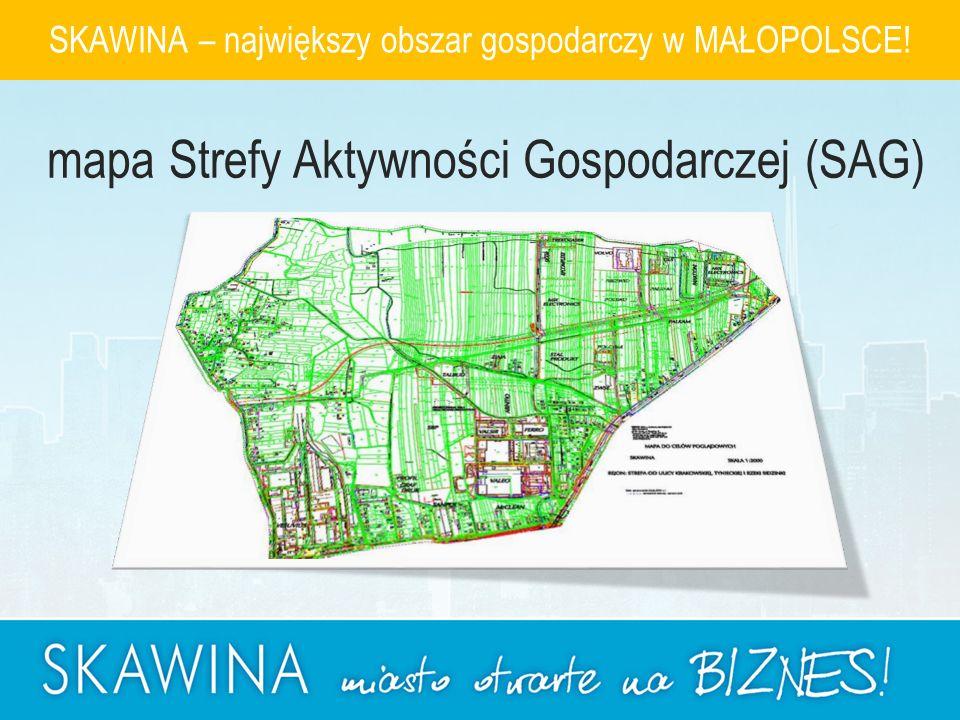 SKAWINA – największy obszar gospodarczy w MAŁOPOLSCE! mapa Strefy Aktywności Gospodarczej (SAG)