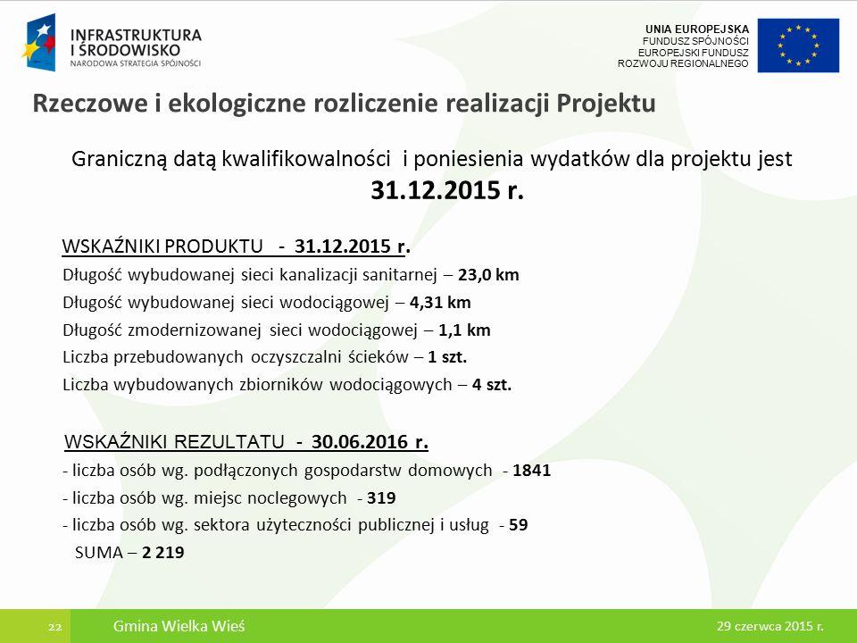UNIA EUROPEJSKA FUNDUSZ SPÓJNOŚCI EUROPEJSKI FUNDUSZ ROZWOJU REGIONALNEGO Rzeczowe i ekologiczne rozliczenie realizacji Projektu Graniczną datą kwalifikowalności i poniesienia wydatków dla projektu jest 31.12.2015 r.