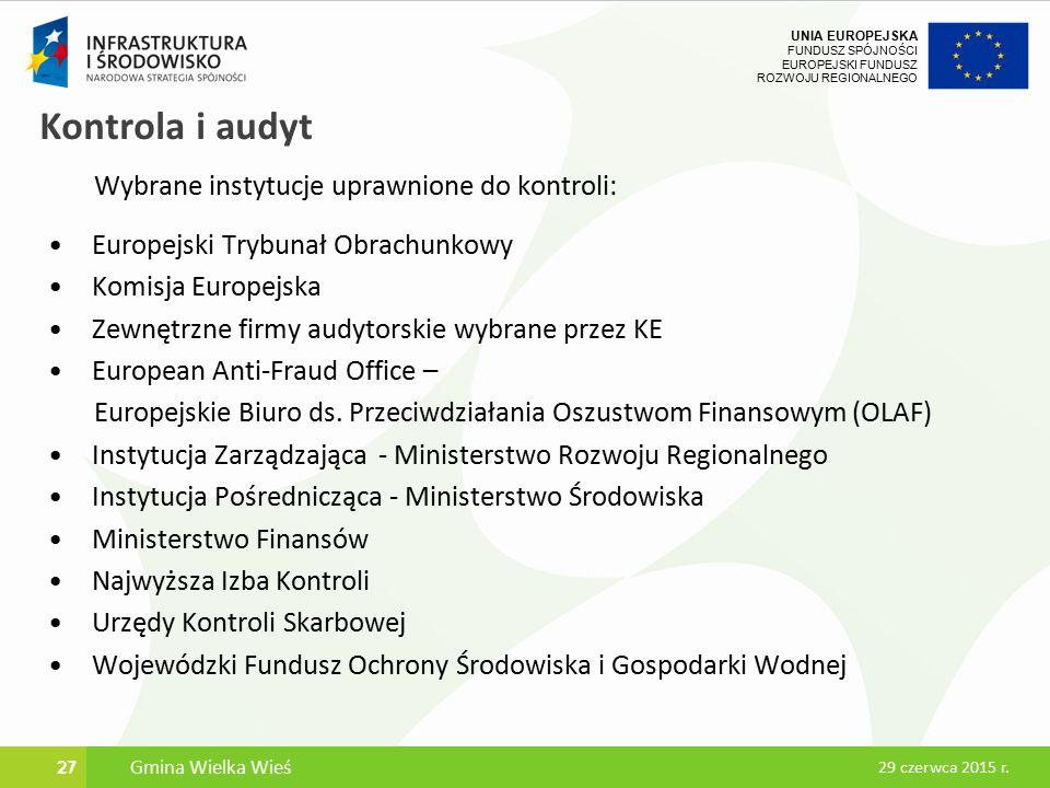 UNIA EUROPEJSKA FUNDUSZ SPÓJNOŚCI EUROPEJSKI FUNDUSZ ROZWOJU REGIONALNEGO Kontrola i audyt Wybrane instytucje uprawnione do kontroli: Europejski Trybunał Obrachunkowy Komisja Europejska Zewnętrzne firmy audytorskie wybrane przez KE European Anti-Fraud Office – Europejskie Biuro ds.