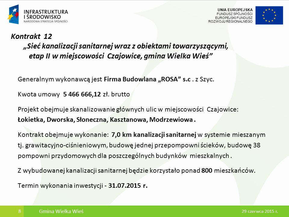 UNIA EUROPEJSKA FUNDUSZ SPÓJNOŚCI EUROPEJSKI FUNDUSZ ROZWOJU REGIONALNEGO Kanalizacja sanitarna w miejscowości Bębło i Czajowice 9 29 czerwca 2015 r.