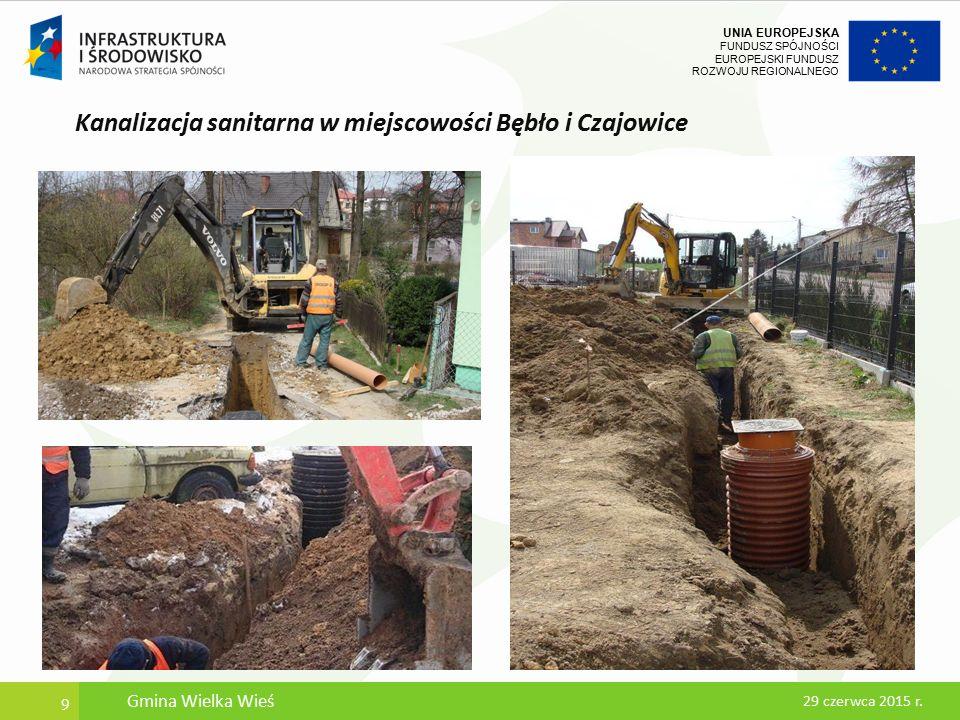 UNIA EUROPEJSKA FUNDUSZ SPÓJNOŚCI EUROPEJSKI FUNDUSZ ROZWOJU REGIONALNEGO Kanalizacja sanitarna w miejscowości Bębło i Czajowice 10 29 czerwca 2015 r.