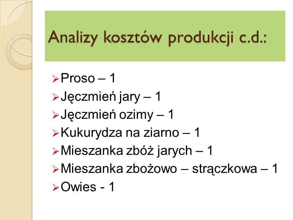 Analizy kosztów produkcji c.d.:  Proso – 1  Jęczmień jary – 1  Jęczmień ozimy – 1  Kukurydza na ziarno – 1  Mieszanka zbóż jarych – 1  Mieszanka zbożowo – strączkowa – 1  Owies - 1