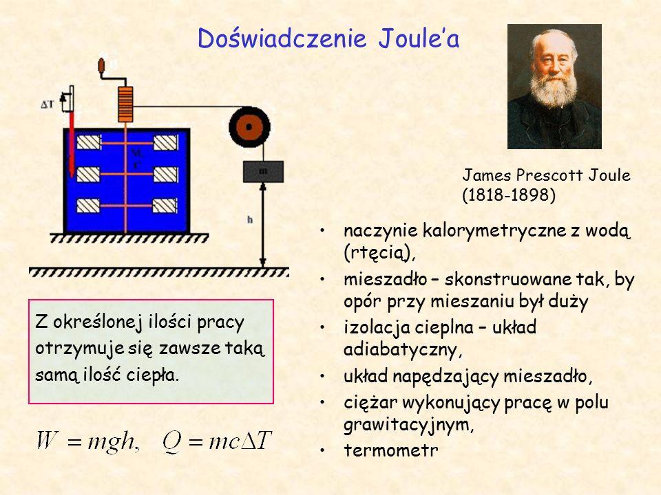 Doświadczenie Joule'a James Prescott Joule (1818-1898) naczynie kalorymetryczne z wodą (rtęcią), mieszadło – skonstruowane tak, by opór przy mieszaniu był duży izolacja cieplna – układ adiabatyczny, układ napędzający mieszadło, ciężar wykonujący pracę w polu grawitacyjnym, termometr Z określonej ilości pracy otrzymuje się zawsze taką samą ilość ciepła.