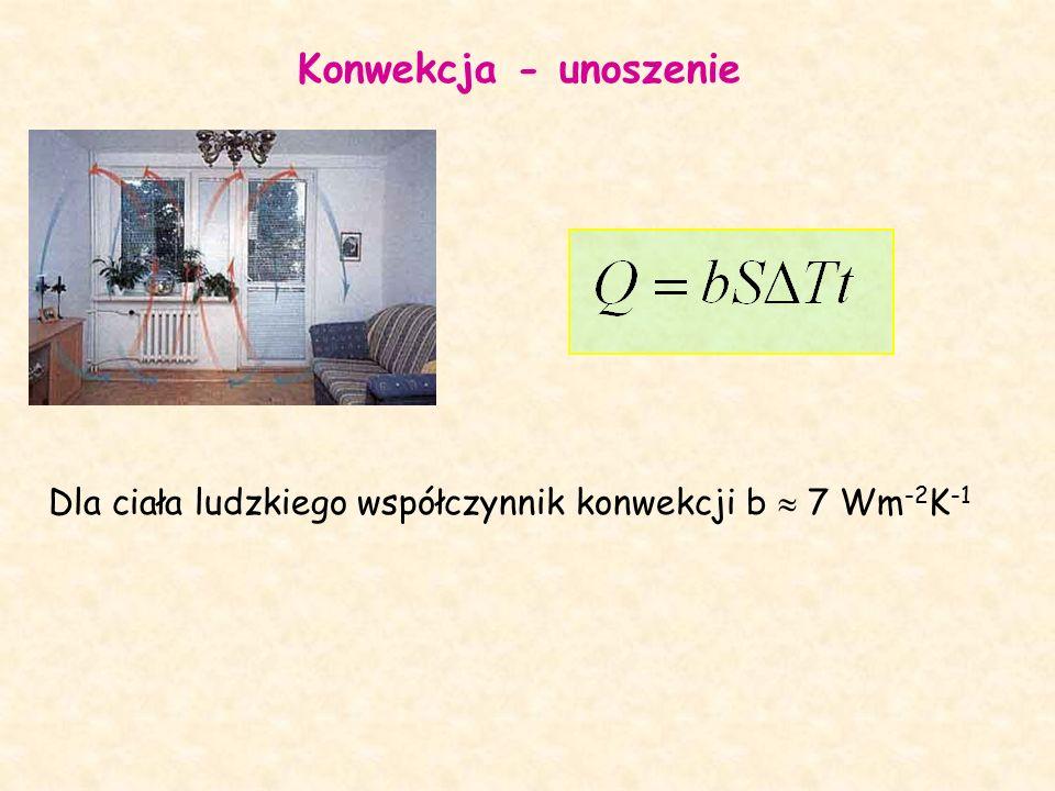 Konwekcja - unoszenie Dla ciała ludzkiego współczynnik konwekcji b  7 Wm -2 K -1