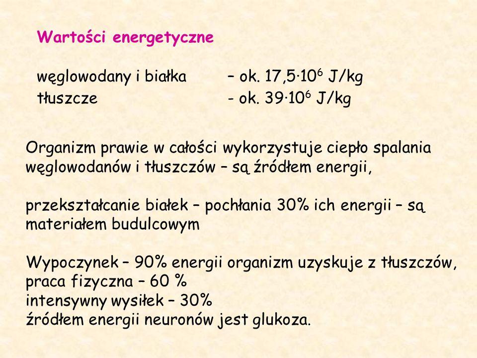 Wartości energetyczne węglowodany i białka – ok. 17,5·10 6 J/kg tłuszcze - ok.