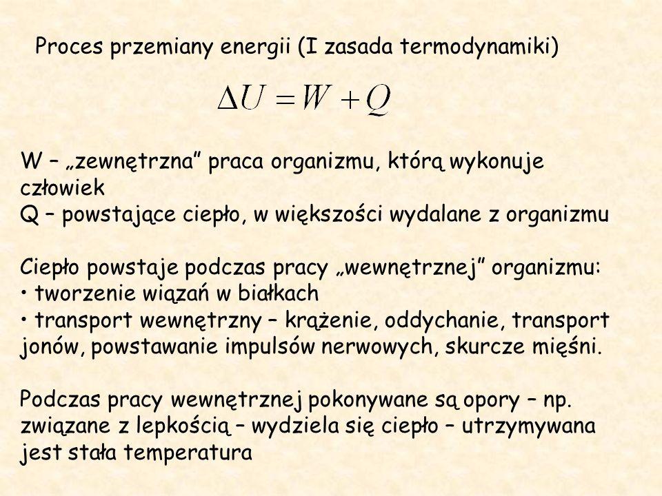 """Proces przemiany energii (I zasada termodynamiki) W – """"zewnętrzna praca organizmu, którą wykonuje człowiek Q – powstające ciepło, w większości wydalane z organizmu Ciepło powstaje podczas pracy """"wewnętrznej organizmu: tworzenie wiązań w białkach transport wewnętrzny – krążenie, oddychanie, transport jonów, powstawanie impulsów nerwowych, skurcze mięśni."""