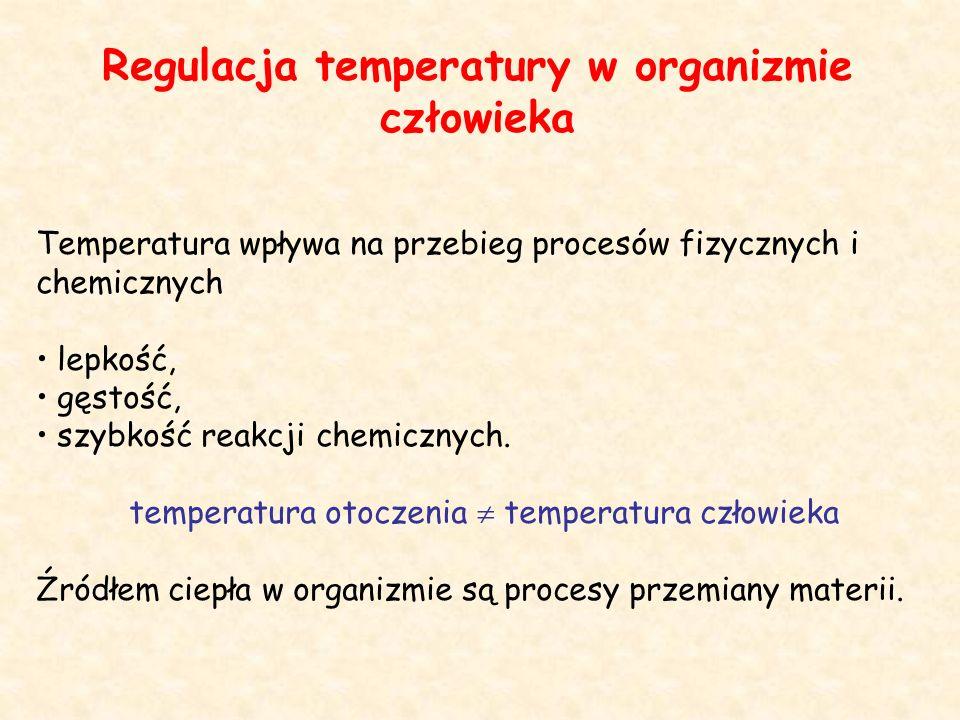 Regulacja temperatury w organizmie człowieka Temperatura wpływa na przebieg procesów fizycznych i chemicznych lepkość, gęstość, szybkość reakcji chemicznych.