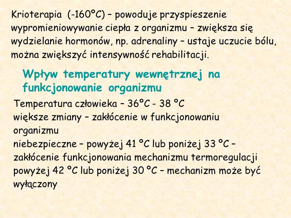 Krioterapia (-160ºC) – powoduje przyspieszenie wypromieniowywanie ciepła z organizmu – zwiększa się wydzielanie hormonów, np.