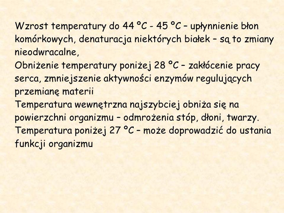 Wzrost temperatury do 44 ºC - 45 ºC – upłynnienie błon komórkowych, denaturacja niektórych białek – są to zmiany nieodwracalne, Obniżenie temperatury poniżej 28 ºC – zakłócenie pracy serca, zmniejszenie aktywności enzymów regulujących przemianę materii Temperatura wewnętrzna najszybciej obniża się na powierzchni organizmu – odmrożenia stóp, dłoni, twarzy.