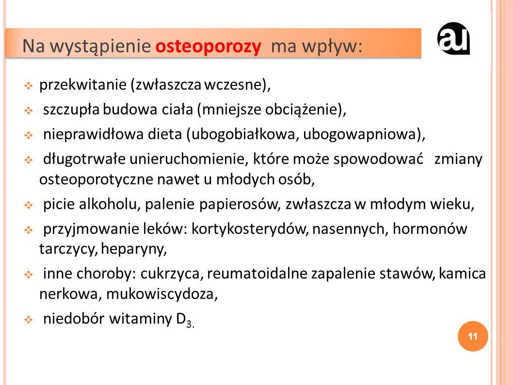  przekwitanie (zwłaszcza wczesne),  szczupła budowa ciała (mniejsze obciążenie),  nieprawidłowa dieta (ubogobiałkowa, ubogowapniowa),  długotrwałe unieruchomienie, które może spowodować zmiany osteoporotyczne nawet u młodych osób,  picie alkoholu, palenie papierosów, zwłaszcza w młodym wieku,  przyjmowanie leków: kortykosterydów, nasennych, hormonów tarczycy, heparyny,  inne choroby: cukrzyca, reumatoidalne zapalenie stawów, kamica nerkowa, mukowiscydoza,  niedobór witaminy D 3.