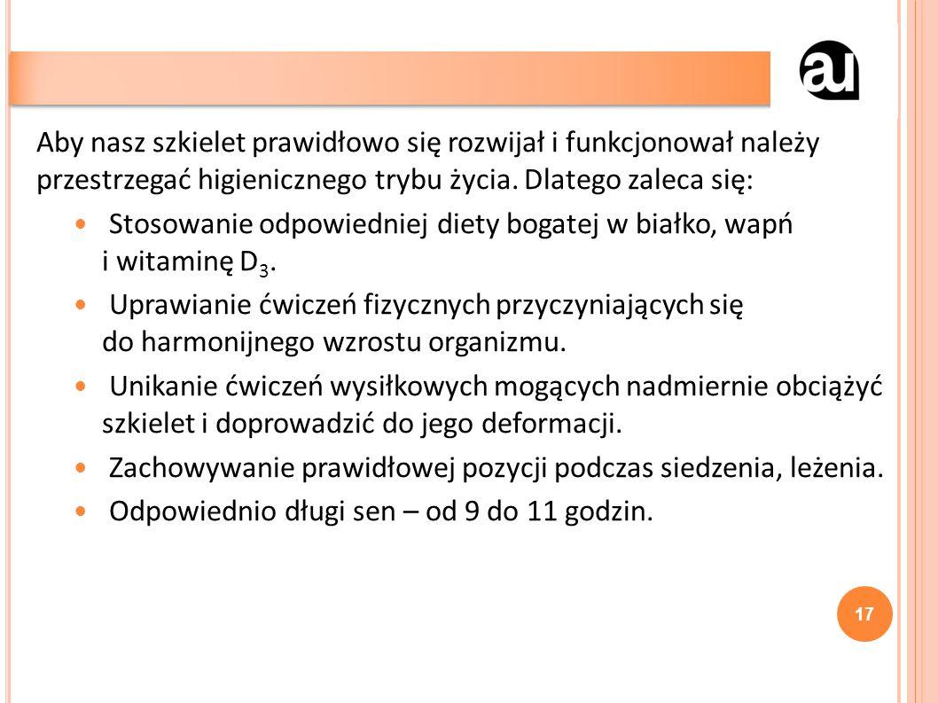 Aby nasz szkielet prawidłowo się rozwijał i funkcjonował należy przestrzegać higienicznego trybu życia.