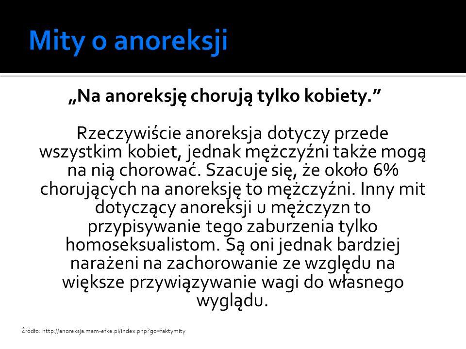"""""""Anoreksja jest fanaberią, a najlepszy sposób na wyjście z niej to po prostu normalne jedzenie. Anoreksja jest poważnym zaburzeniem psychicznym, a nie kwestią wyboru czy stylem życia."""