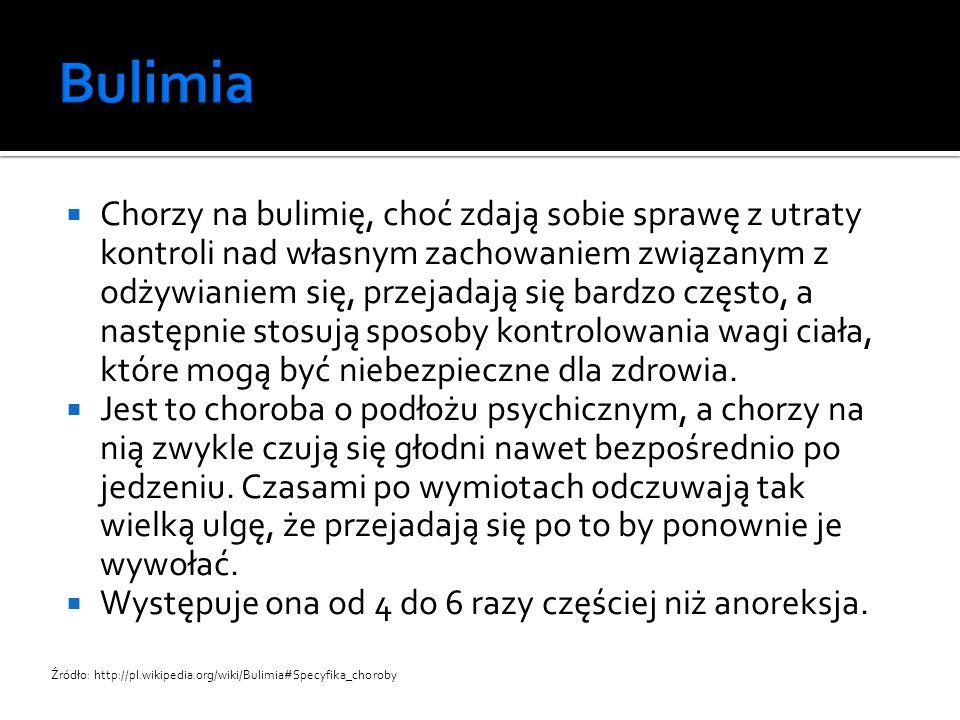  brak samoakceptacji  konflikty rodzinne  zaburzenia mechanizmów samoregulacji i samokontroli  uszkodzenie ośrodka sytości w mózgu  emocjonalne zaniedbanie dziecka w dzieciństwie  brak akceptacji przez grupę rówieśniczą (wiążący się często ze zmianą środowiska) Źródło: http://pl.wikipedia.org/wiki/Bulimia#Przyczyny_bulimii