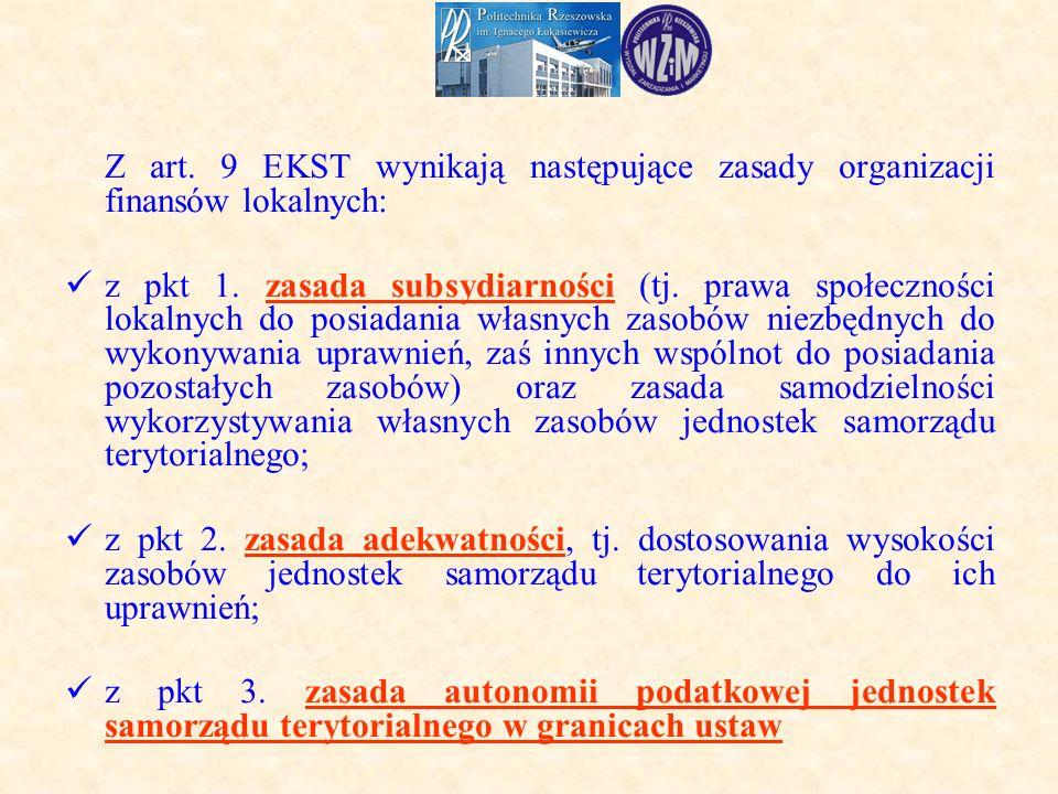 Z art.9 EKST wynikają następujące zasady organizacji finansów lokalnych: z pkt 1.