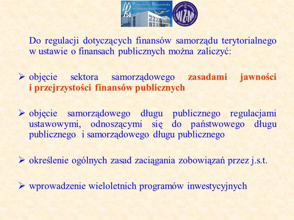Do regulacji dotyczących finansów samorządu terytorialnego w ustawie o finansach publicznych można zaliczyć:  objęcie sektora samorządowego zasadami jawności i przejrzystości finansów publicznych  objęcie samorządowego długu publicznego regulacjami ustawowymi, odnoszącymi się do państwowego długu publicznego i samorządowego długu publicznego  określenie ogólnych zasad zaciągania zobowiązań przez j.s.t.