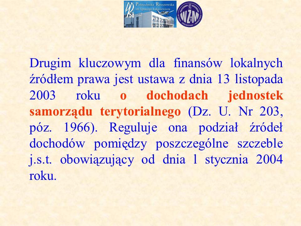 Drugim kluczowym dla finansów lokalnych źródłem prawa jest ustawa z dnia 13 listopada 2003 roku o dochodach jednostek samorządu terytorialnego (Dz.
