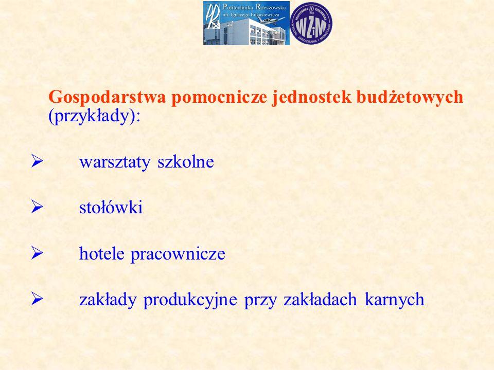 Gospodarstwa pomocnicze jednostek budżetowych (przykłady):  warsztaty szkolne  stołówki  hotele pracownicze  zakłady produkcyjne przy zakładach karnych