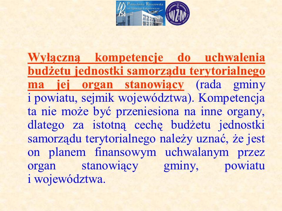 Wyłączną kompetencje do uchwalenia budżetu jednostki samorządu terytorialnego ma jej organ stanowiący (rada gminy i powiatu, sejmik województwa).