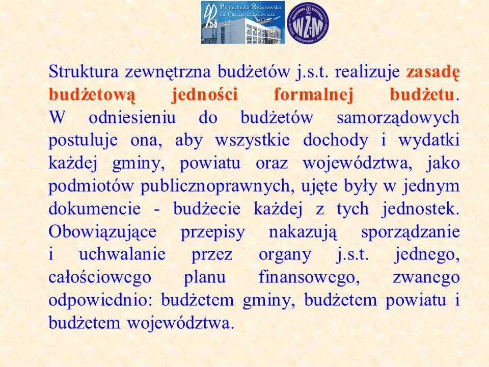 Struktura zewnętrzna budżetów j.s.t.realizuje zasadę budżetową jedności formalnej budżetu.