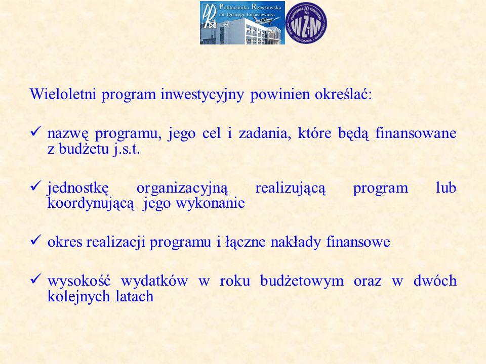 Wieloletni program inwestycyjny powinien określać: nazwę programu, jego cel i zadania, które będą finansowane z budżetu j.s.t.
