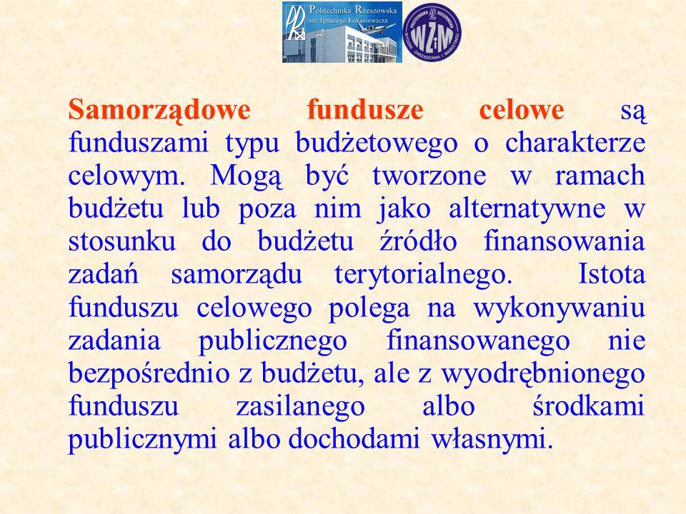 Samorządowe fundusze celowe są funduszami typu budżetowego o charakterze celowym.