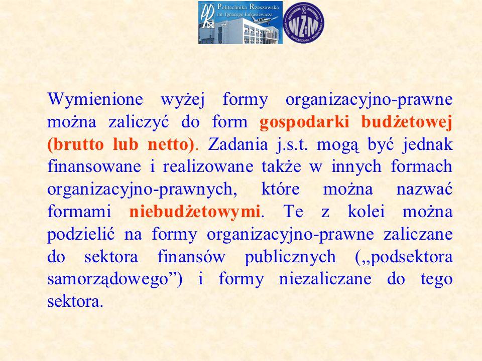 Wymienione wyżej formy organizacyjno-prawne można zaliczyć do form gospodarki budżetowej (brutto lub netto).