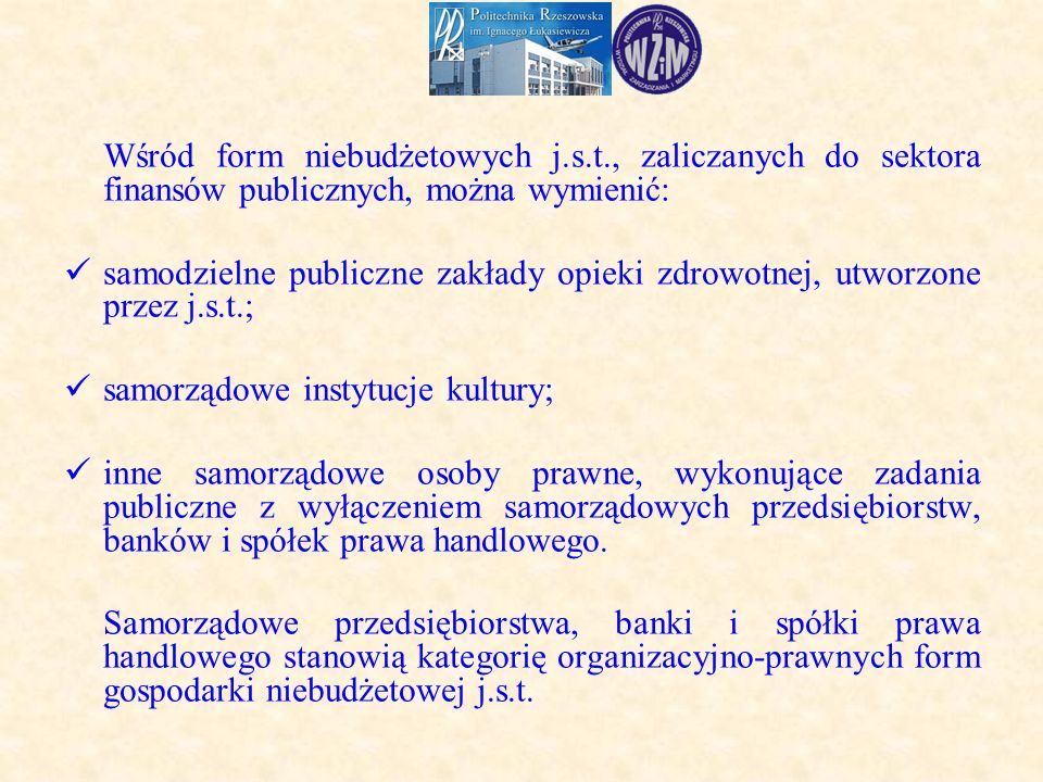Wśród form niebudżetowych j.s.t., zaliczanych do sektora finansów publicznych, można wymienić: samodzielne publiczne zakłady opieki zdrowotnej, utworzone przez j.s.t.; samorządowe instytucje kultury; inne samorządowe osoby prawne, wykonujące zadania publiczne z wyłączeniem samorządowych przedsiębiorstw, banków i spółek prawa handlowego.