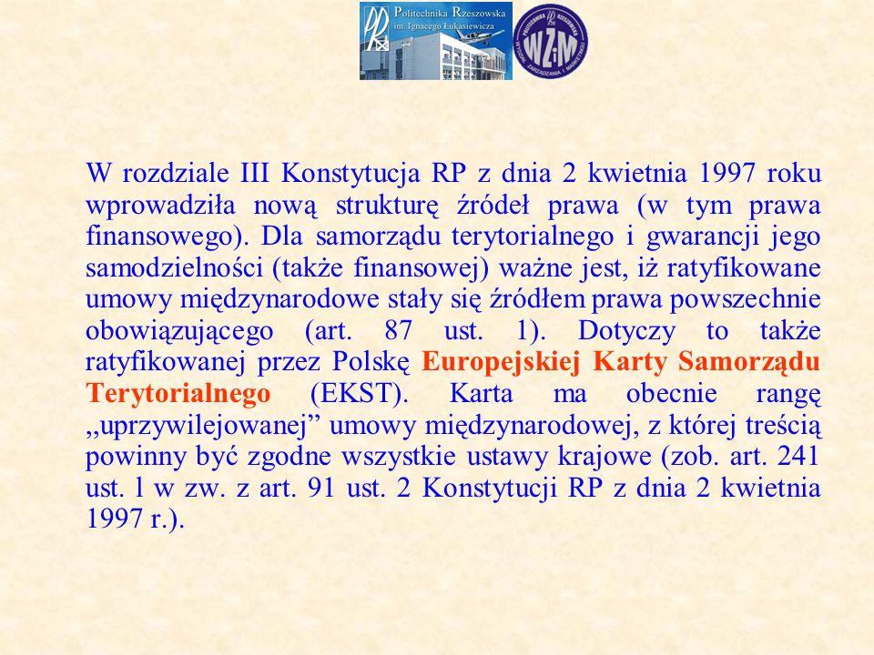 W rozdziale III Konstytucja RP z dnia 2 kwietnia 1997 roku wprowadziła nową strukturę źródeł prawa (w tym prawa finansowego).