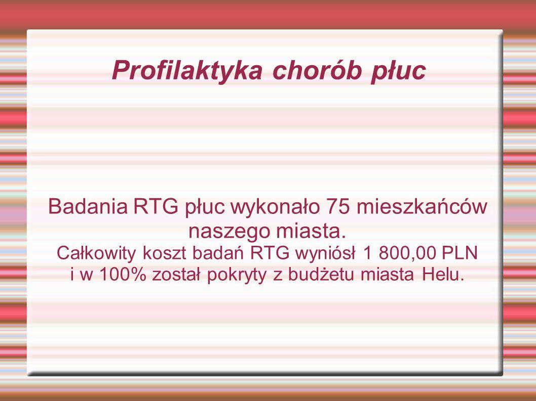 Profilaktyka chorób płuc Badania RTG płuc wykonało 75 mieszkańców naszego miasta.