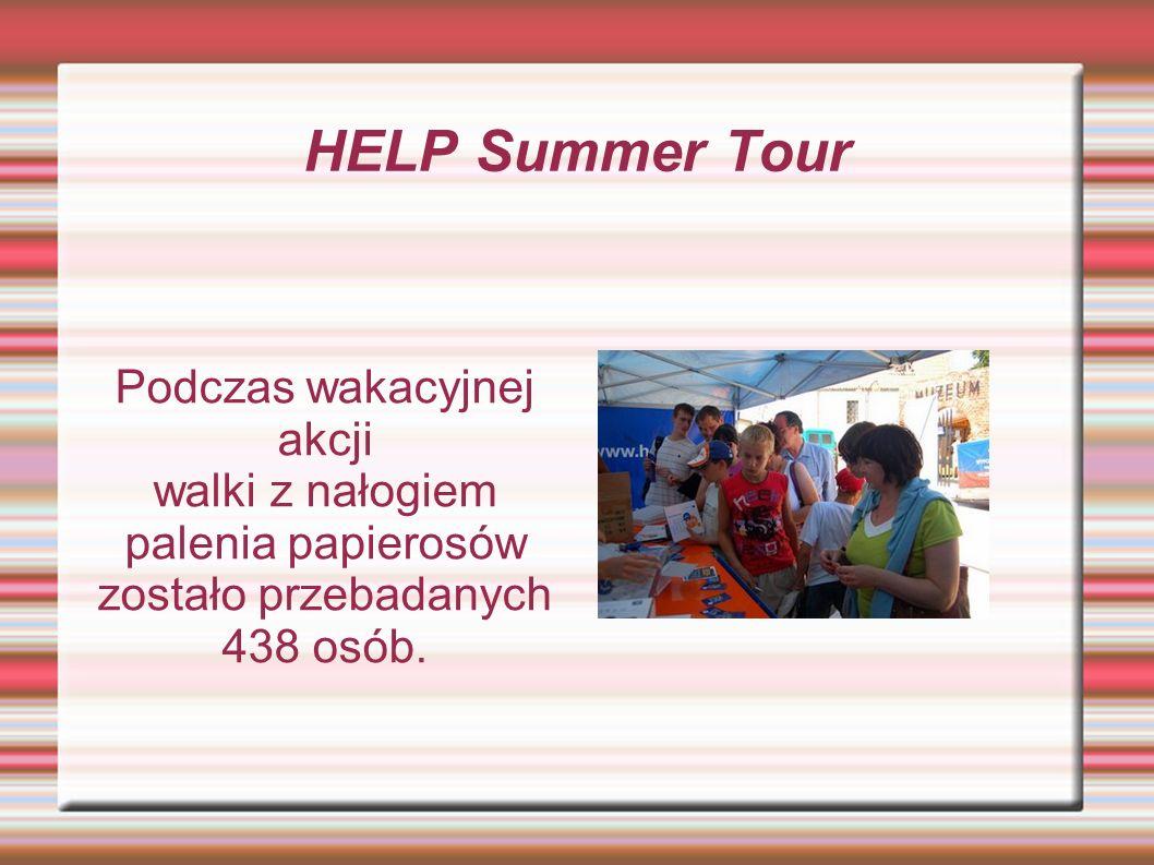 HELP Summer Tour Podczas wakacyjnej akcji walki z nałogiem palenia papierosów zostało przebadanych 438 osób.