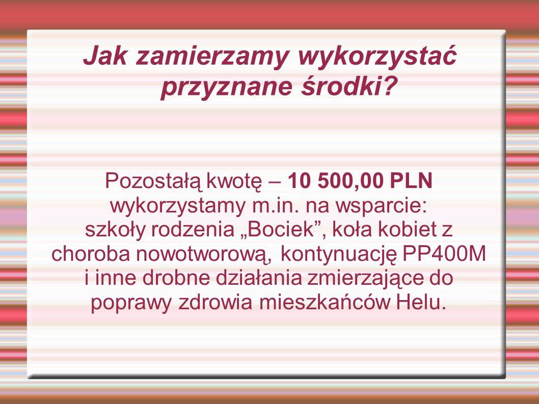 Jak zamierzamy wykorzystać przyznane środki.Pozostałą kwotę – 10 500,00 PLN wykorzystamy m.in.